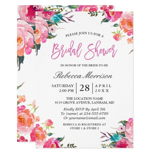Watercolor Floral Botanical Wreath Bridal Shower Card