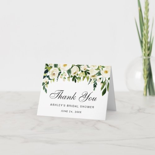 Watercolor Floral Green Bridal Shower Thanks Note Thank You Card