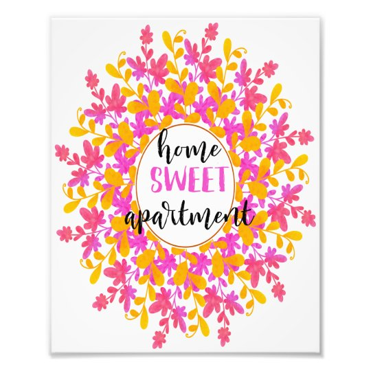Watercolor Fl Home Sweet Apartment Wall Art