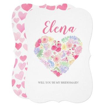 Watercolor Flowers Heart Bridesmaid invitation