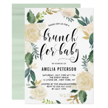 Watercolor Flowers with Glitter Baby Shower Brunch Card