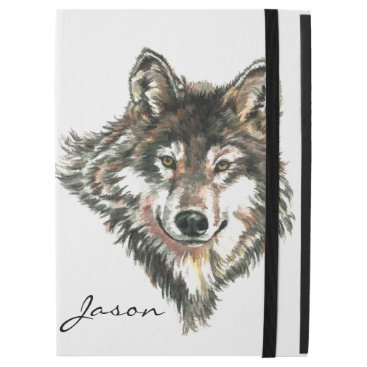 "Watercolor Gray Wolf Logo Custom Name wolves iPad Pro 12.9"" Case"
