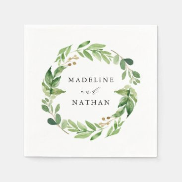Watercolor Greenery | Personalized Wedding Napkins