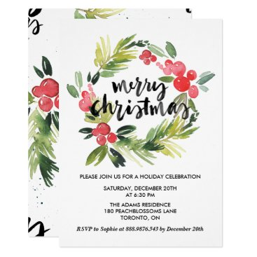 Watercolor Holly Wreath Merry Holiday Party Invitation