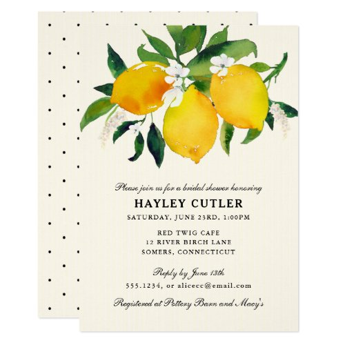 Watercolor Lemon & Flowers Shower invitation