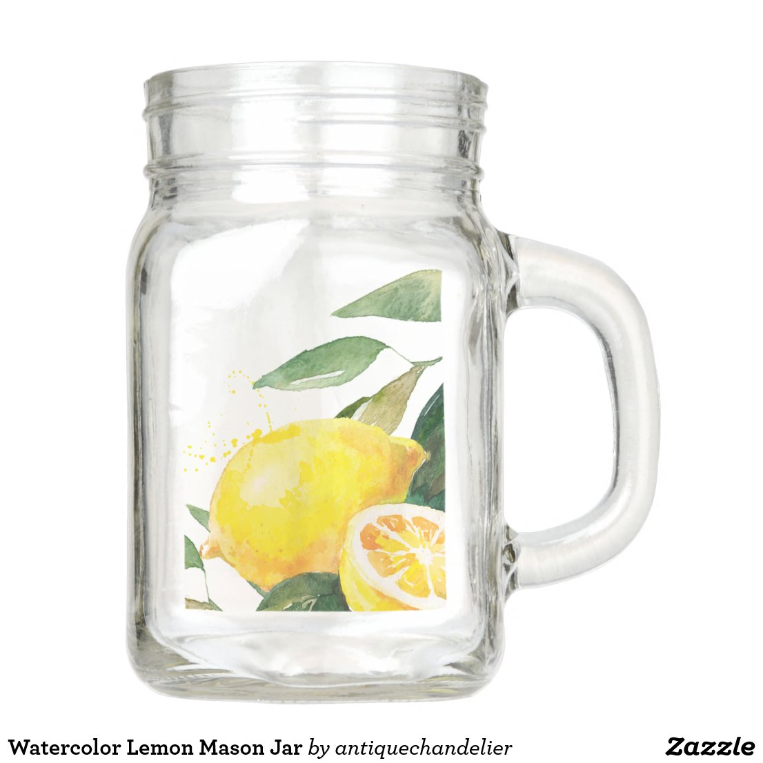 Watercolor Lemon Mason Jar