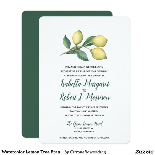 Watercolor Lemon Tree Branch   Wedding invitation