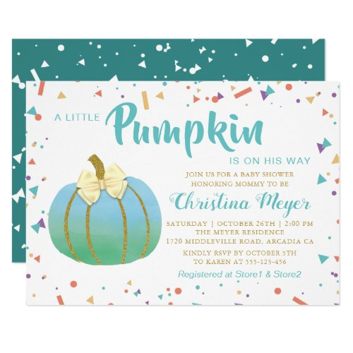 Watercolor Little Pumpkin Baby Shower Invitation