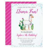 Watercolor Llama Birthday Invitations