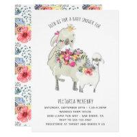 Watercolor Llama Mamma Baby Shower Invitation