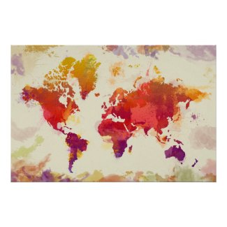 Red Yellow watercolor world map poster   Watercolor Home Decor on three-dimensional world map, vintage world map, painting world map, jewelry world map, silver world map, unique world map, sepia world map, artistic world map, illustration world map, colorful world map, flowers world map, creative world map, miniature world map, doodle world map, transparent world map, nature world map, old world map, cute world map, blank world map, abstract world map,
