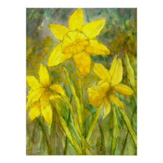 Watercolor Painting, Yellow Flowers Art, Daffodils Posters