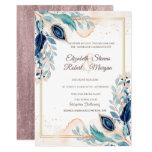 Watercolor Peacock Floral Wedding Invitation