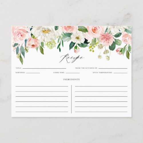 Watercolor Pink Peach Floral Garland Recipe Card