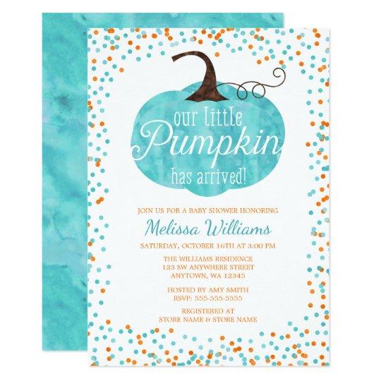 Watercolor Pumpkin Arrived Fall Boy Baby Shower Invitation