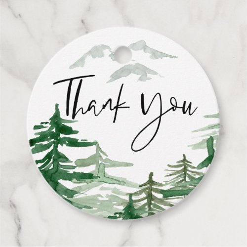 Watercolor Romantic Woodland Thank You Favor Tags