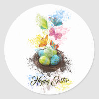 Watercolor Splash Easter Eggs Nest & Butterflies Classic Round Sticker