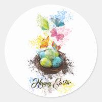 Watercolor Splash Easter Eggs Nest & Butterflies Classic Round Sticker
