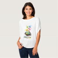 Watercolor Splash Easter Eggs Nest & Butterflies T-Shirt