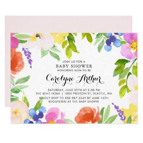 Watercolor Spring Blooms Baby Shower Invitation