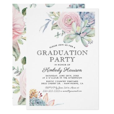 Watercolor Succulent Floral Graduation Party Invitation
