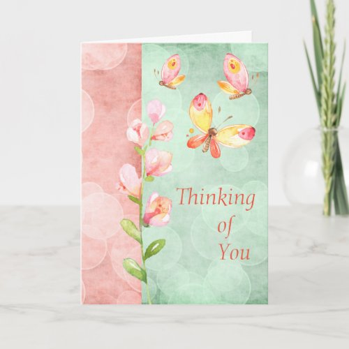 Watercolor Thinking of you card with Butterflies