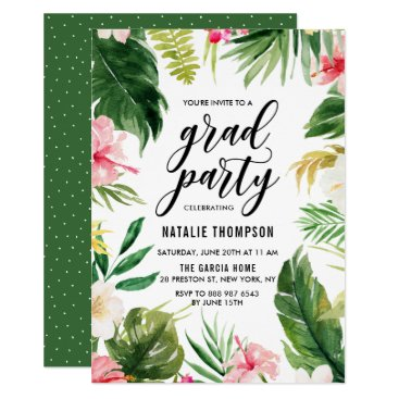 Watercolor Tropical Floral Frame Graduation Party Card