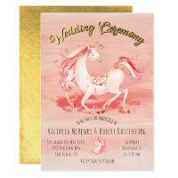 Watercolor Unicorn Gold Foil Wedding Invitation