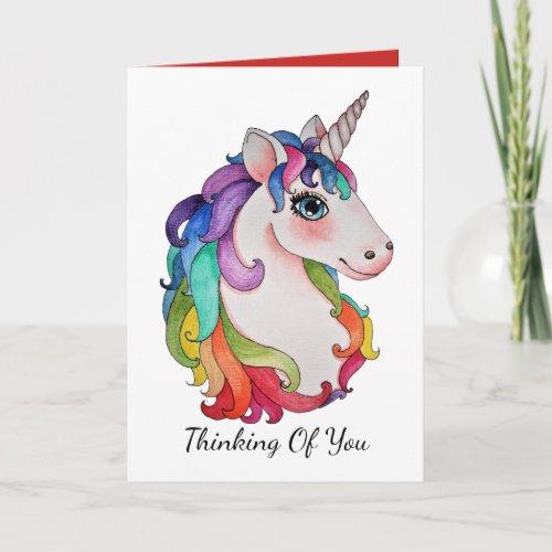 Watercolor Unicorn With Rainbow Hair Card