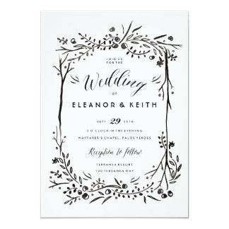 Purple And Green Woodland Bouquet Woodsy Wedding Invitation Front