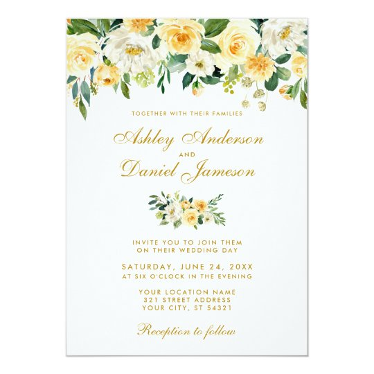 Watercolor Yellow Gold Green Wedding Invitation