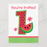 ❤️ Watermelon 1st Birthday Gingham Invitation Postcard (also available in other years & styles)