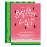 ❤️ Watermelon Gradient Modern  Birthday Party Invitation