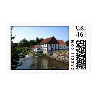 Watermill in Denmark Stamp stamp