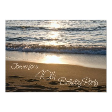 Wave at Sunset 40th Birthday Party Invitation Card