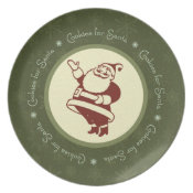 Waving Retro Santa Cookie Plate plate