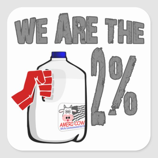 We Are The 2% Milk! Funny Occupy Wall Street Spoof Square Sticker