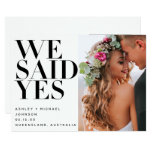 WE SAID YES | 2 Photo Wedding Reception Only Invitation
