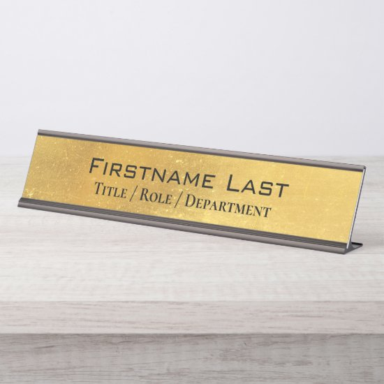 Weathered Antique Brass Gold + Blk Custom Door and Desk Name Plate