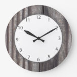 Weathered Country Wood Grey Numbers Large Clock