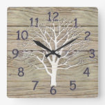 Weathered Driftwood with Tree Artwork Square Wallclock
