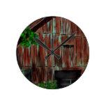 Weathered Red Barn Round Clock