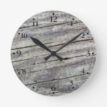 Weathered Wood Planks Texture Pattern Clockface 1 Round Wall Clocks