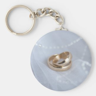 Wedding Bands On White Basic Round Button Keychain