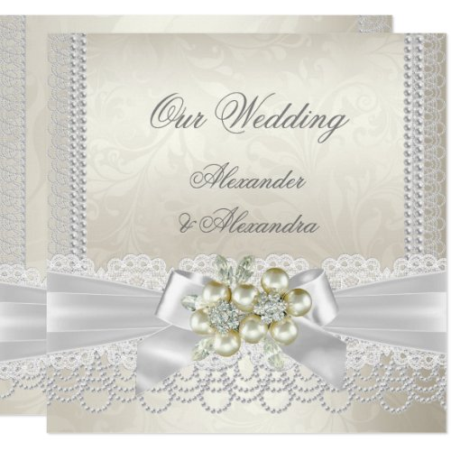 Wedding Cream White Pearl Lace Damask Diamond Invitation