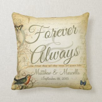 Wedding Day Forever & Always Personalized Pillow