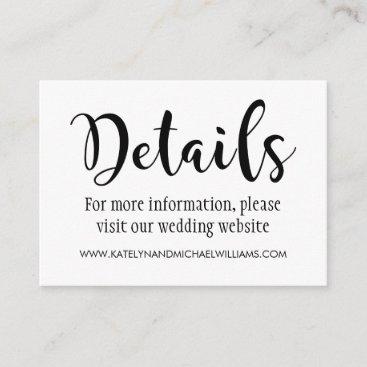 Wedding Details Card | Black Script