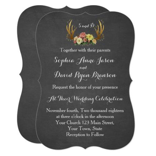 Wedding Invitation | Unique Antlers Floral Chalk