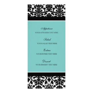 Wedding Menu Teal Black Damask Full Color Rack Card
