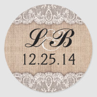 wedding monogram and burlap lace stickers